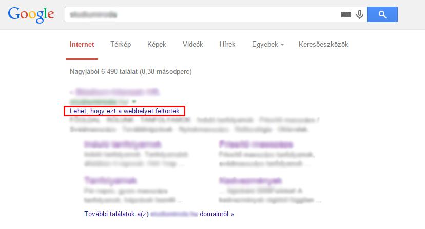 google feltört weboldal