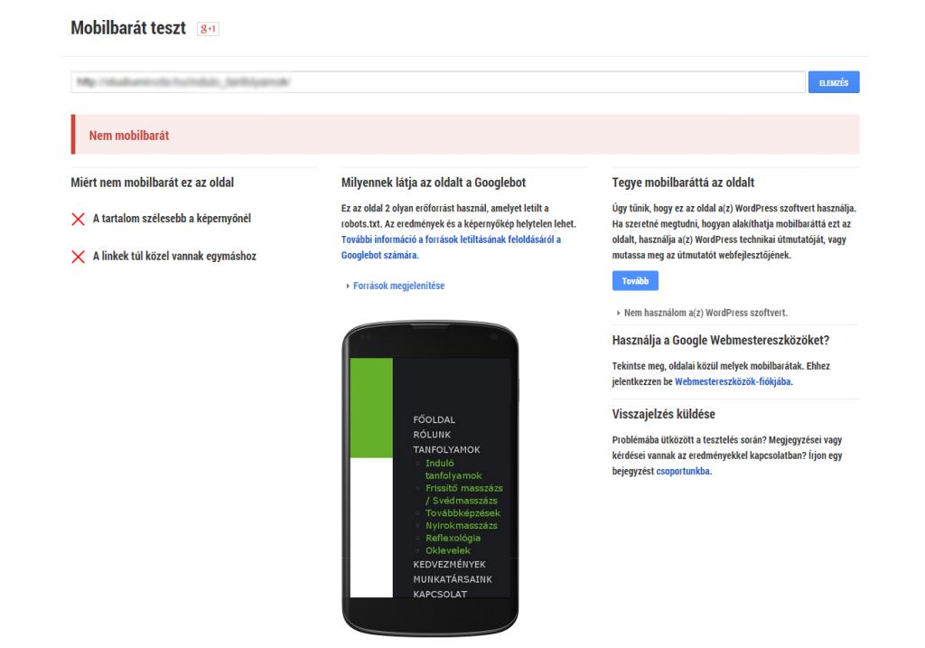 google mobilbarát teszt