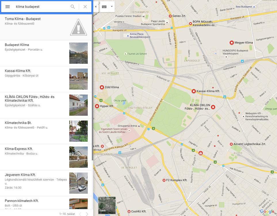 keresés térképen