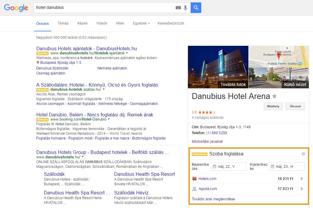 Google Hotel hirdetések