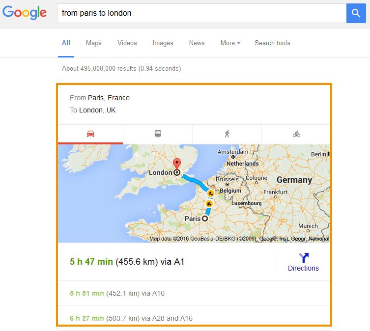 Google Utazási box