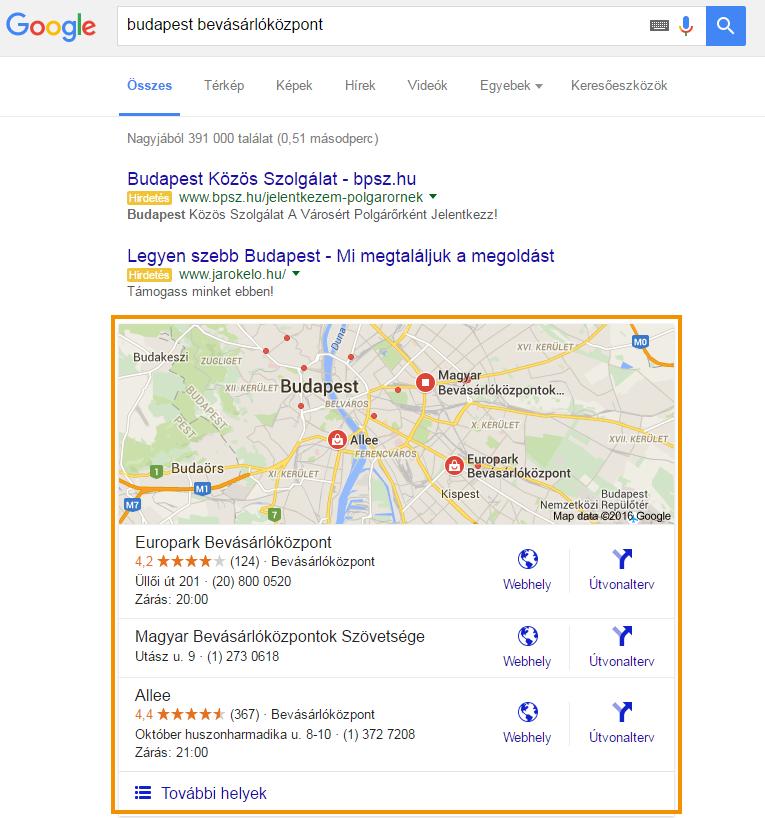 Google Helyi találatok